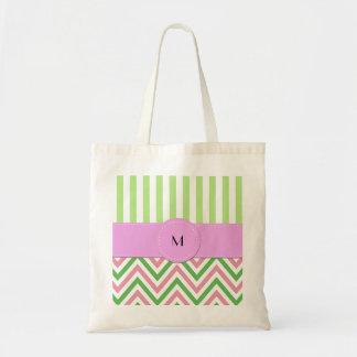 Monogram - Zigzag (Chevron), Lines - Green Pink Tote Bag