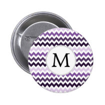 Monogram Zigzag Chevron Pattern in Purple Button
