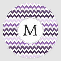 Monogram Zigzag Chevron Pattern in Purple Classic Round Sticker