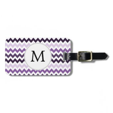 Monogram Zigzag Chevron Pattern in Purple Luggage Tag