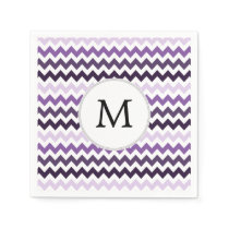 Monogram Zigzag Chevron Pattern in Purple Napkin