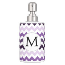 Monogram Zigzag Chevron Pattern in Purple Soap Dispenser And Toothbrush Holder