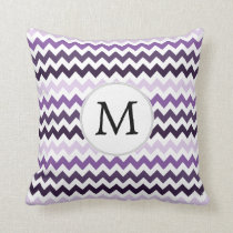 Monogram Zigzag Chevron Pattern in Purple Throw Pillow