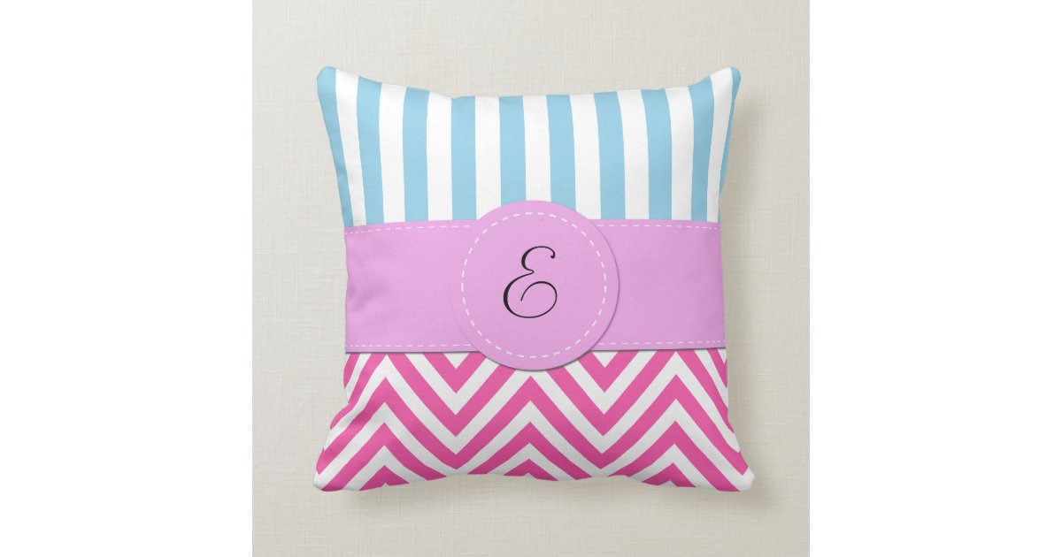 Monogram - Zigzag (Chevron) - Pink White Blue Throw Pillow Zazzle