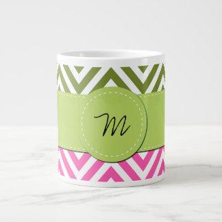 Monogram - Zigzag Chevron - Pink White Green Jumbo Mug