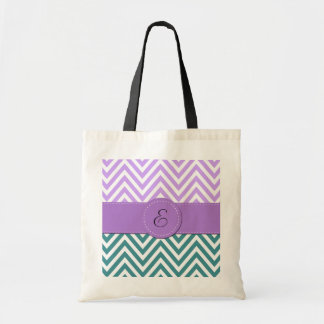 Monogram - Zigzag (Chevron) -  White Blue Purple Canvas Bag