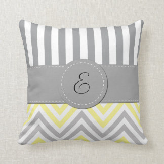 Monogram - Zigzag Chevron - Yellow Gray White Throw Pillows