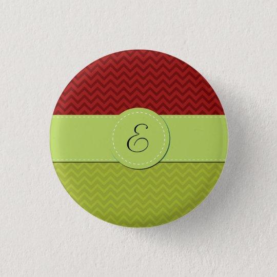 Monogram - Zigzag Pattern, Chevron Pattern - Green Button