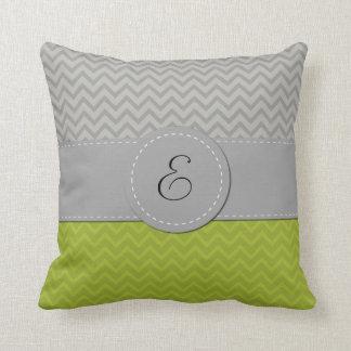 Monogram - Zigzag Pattern, Chevron Pattern - Green Throw Pillow