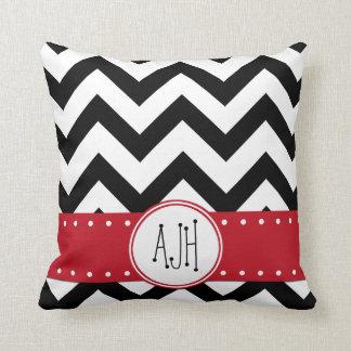 Monogram - Zigzag Pattern, Chevron - White Black Throw Pillow