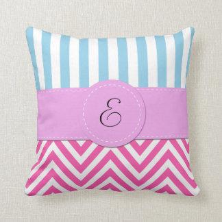 Monogram - Zigzag Pattern, Chevron - White Pink Throw Pillow