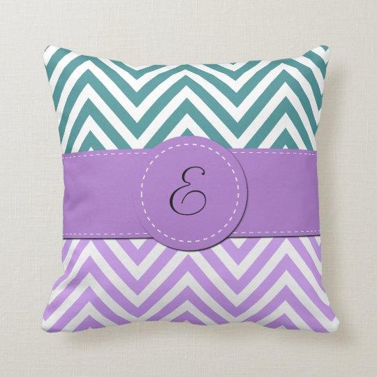 Monogram - Zigzag Pattern, Chevron - White Purple Throw Pillow