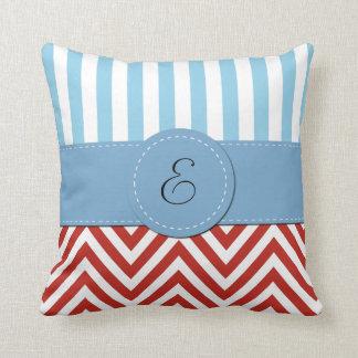 Monogram - Zigzag Pattern, Chevron - White Red Throw Pillow
