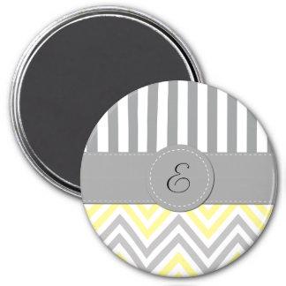 Monogram - Zigzag Pattern, Chevron - Yellow Gray 3 Inch Round Magnet