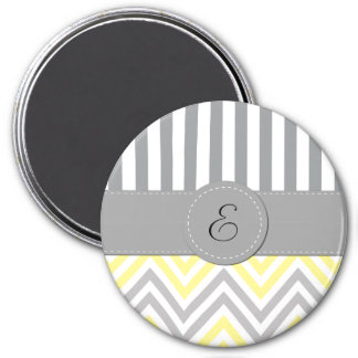 Monogram - Zigzag Pattern, Chevron - Yellow Gray Magnet