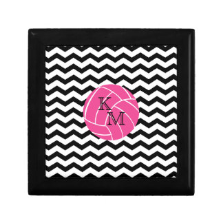 Monogram Zigzag Pink Volleyball Keepsake Box