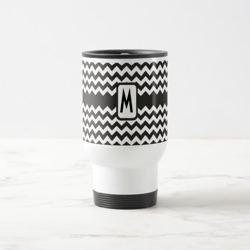Monogram Zigzag Travel Mug: Black, White Chevrons