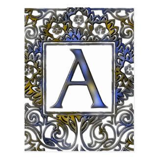 Monograma a azul y marrón postal