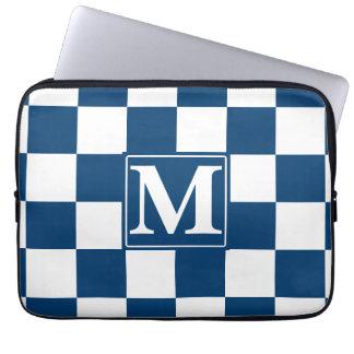 Monograma a cuadros azul mangas portátiles