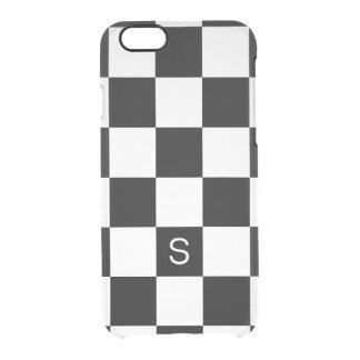 Monograma a cuadros blanco negro funda clearly™ deflector para iPhone 6 de uncommon