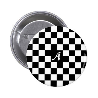 Monograma a cuadros blanco y negro chapa redonda 5 cm