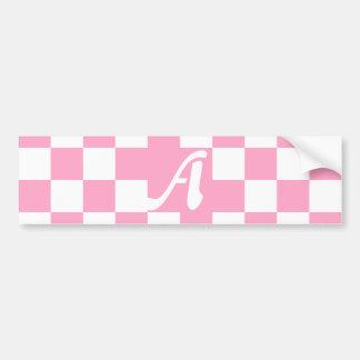 Monograma a cuadros rosado y blanco del clavel pegatina para auto