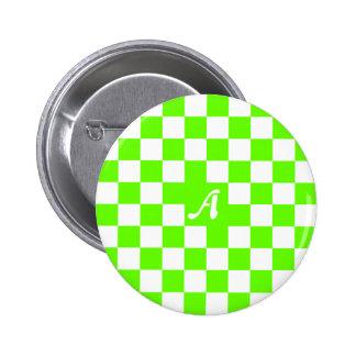 Monograma a cuadros verde claro y blanco