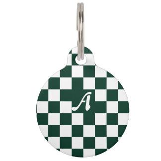 Monograma a cuadros verde oscuro y blanco identificador para mascota