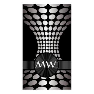 Monograma abstracto blanco y negro tarjetas de visita