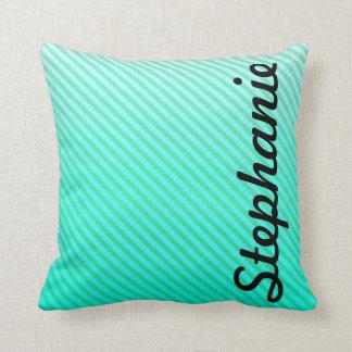 Monograma abstracto de la verde menta almohadas