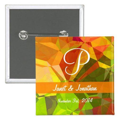Monograma abstracto del personalizable de los polí pin cuadrada 5 cm