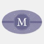 Monograma abstracto geométrico púrpura pegatinas ovales