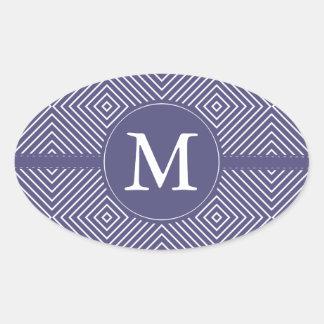 Monograma abstracto geométrico púrpura pegatina ovalada