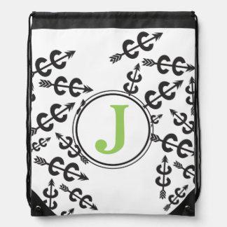 Monograma abstracto personalizado de la flecha del mochila