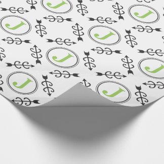 Monograma abstracto personalizado de la flecha del papel de regalo