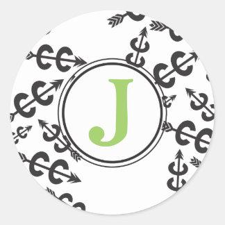 Monograma abstracto personalizado de la flecha del pegatina redonda