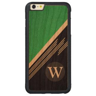Monograma abstracto retro de hombres verde del funda para iPhone 6 plus de carved® de cerezo