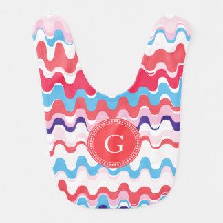 Monograma abstracto rosado colorido lindo del baberos para bebé