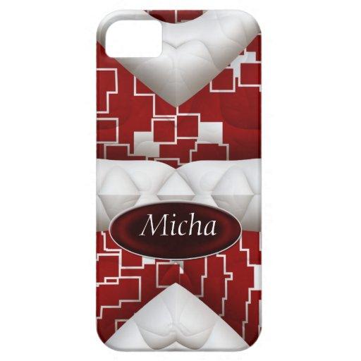 Monograma acolchado geométrico rojo y blanco de la iPhone 5 carcasas