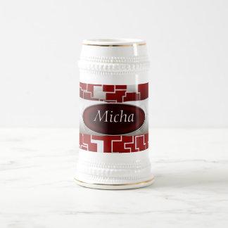Monograma acolchado geométrico rojo y blanco de la taza de café