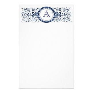 Monograma adaptable adornado inmóvil papeleria personalizada