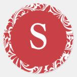Monograma adaptable blanco rojo del boda del monog pegatina redonda