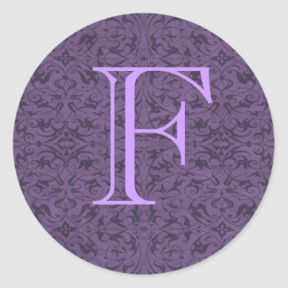 Monograma adaptable F Pegatina Redonda