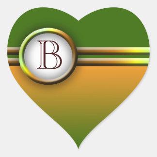 Monograma adaptable: Hojas de la caída Pegatina Corazón Personalizadas
