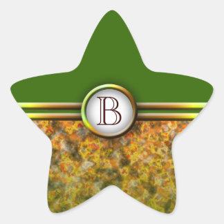 Monograma adaptable: Hojas de la caída Colcomanias Forma De Estrella Personalizadas