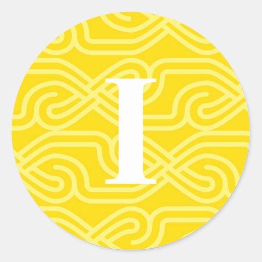 Monograma adornado de Knotwork - letra I Pegatina Redonda