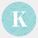 Monograma adornado de Knotwork - letra K Pegatina Redonda