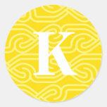 Monograma adornado de Knotwork - letra K Etiquetas Redondas