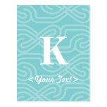 Monograma adornado de Knotwork - letra K Postal