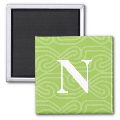 Monograma adornado de Knotwork - letra N Imán Cuadrado